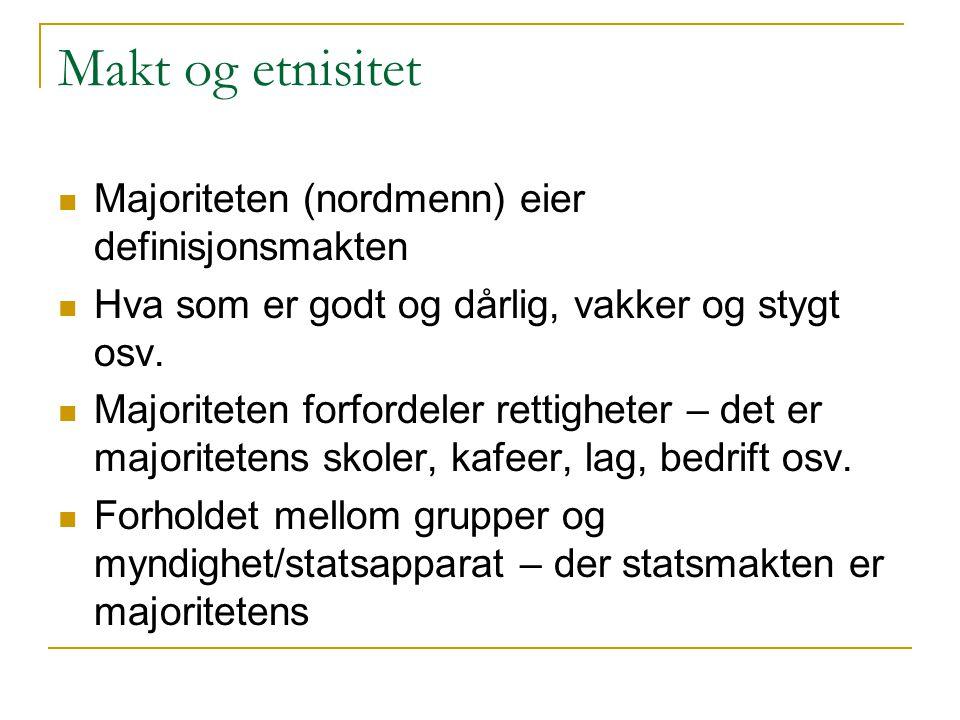 Makt og etnisitet Majoriteten (nordmenn) eier definisjonsmakten