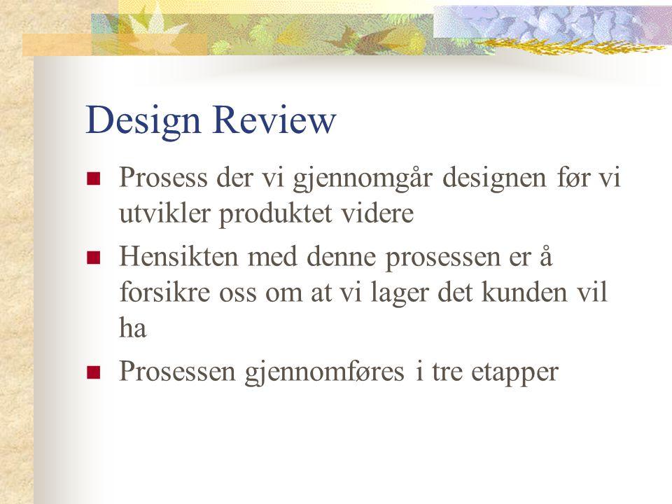 Design Review Prosess der vi gjennomgår designen før vi utvikler produktet videre.