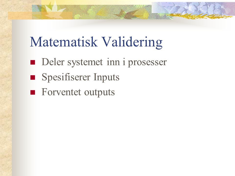 Matematisk Validering