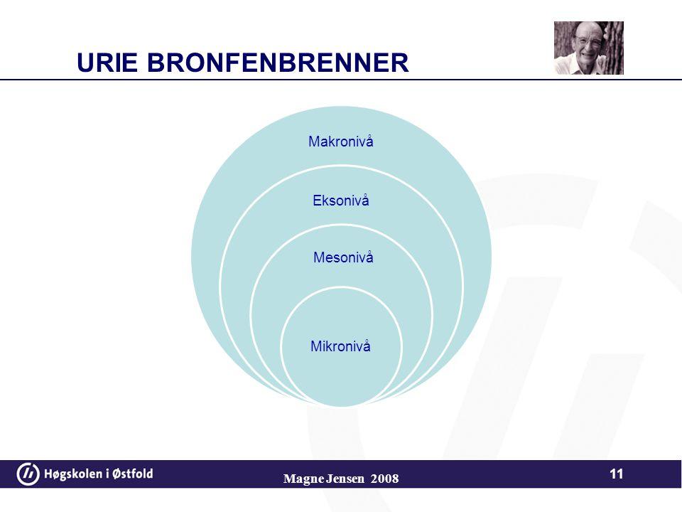 URIE BRONFENBRENNER Magne Jensen 2008 Makronivå Eksonivå Mesonivå