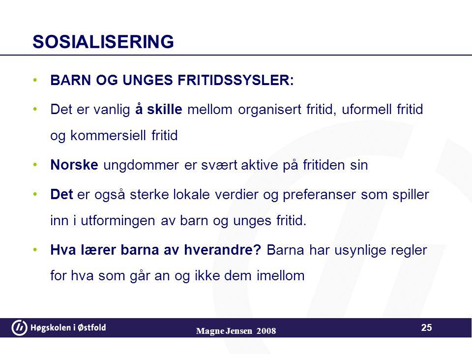 SOSIALISERING BARN OG UNGES FRITIDSSYSLER: