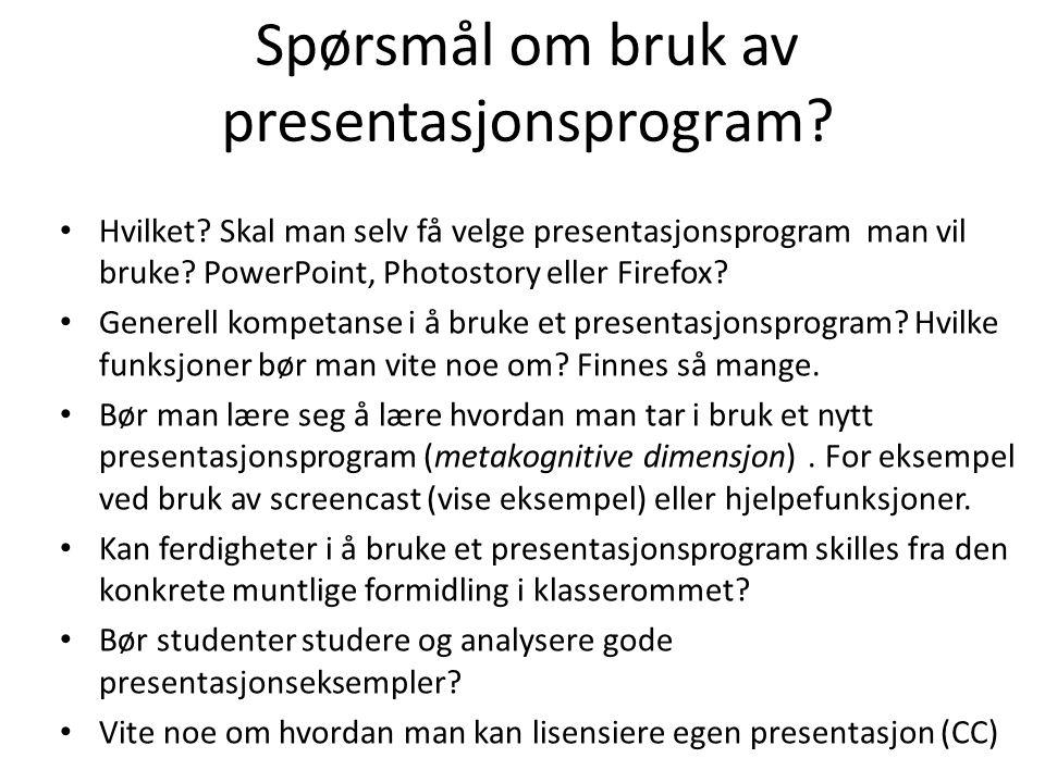 Spørsmål om bruk av presentasjonsprogram