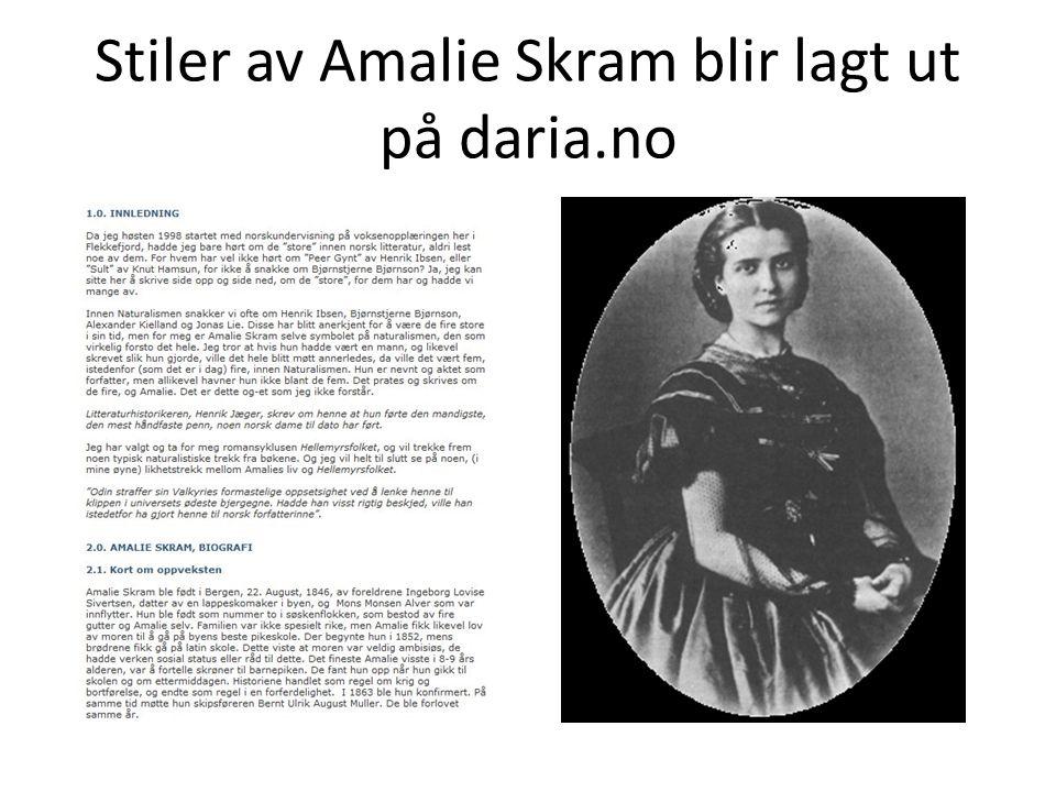 Stiler av Amalie Skram blir lagt ut på daria.no