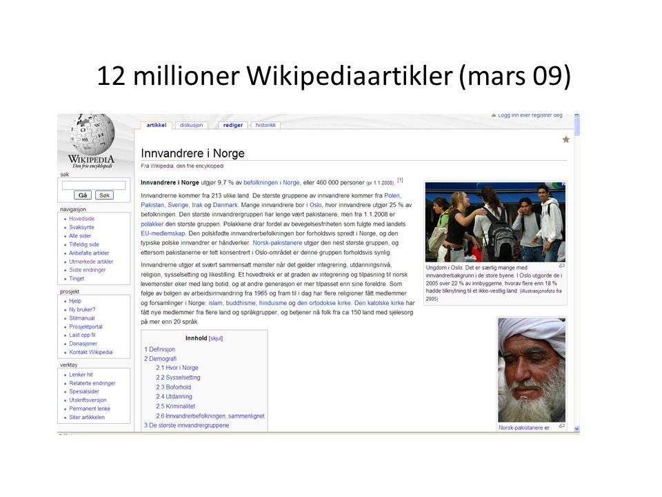 12 millioner Wikipediaartikler (mars 09)