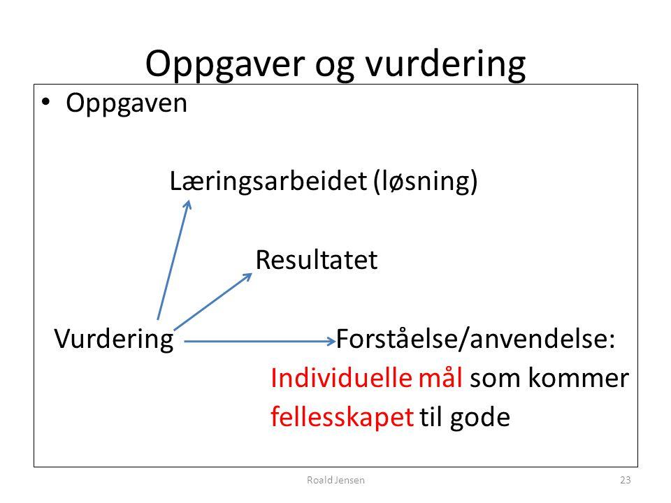 Oppgaver og vurdering Oppgaven Læringsarbeidet (løsning) Resultatet