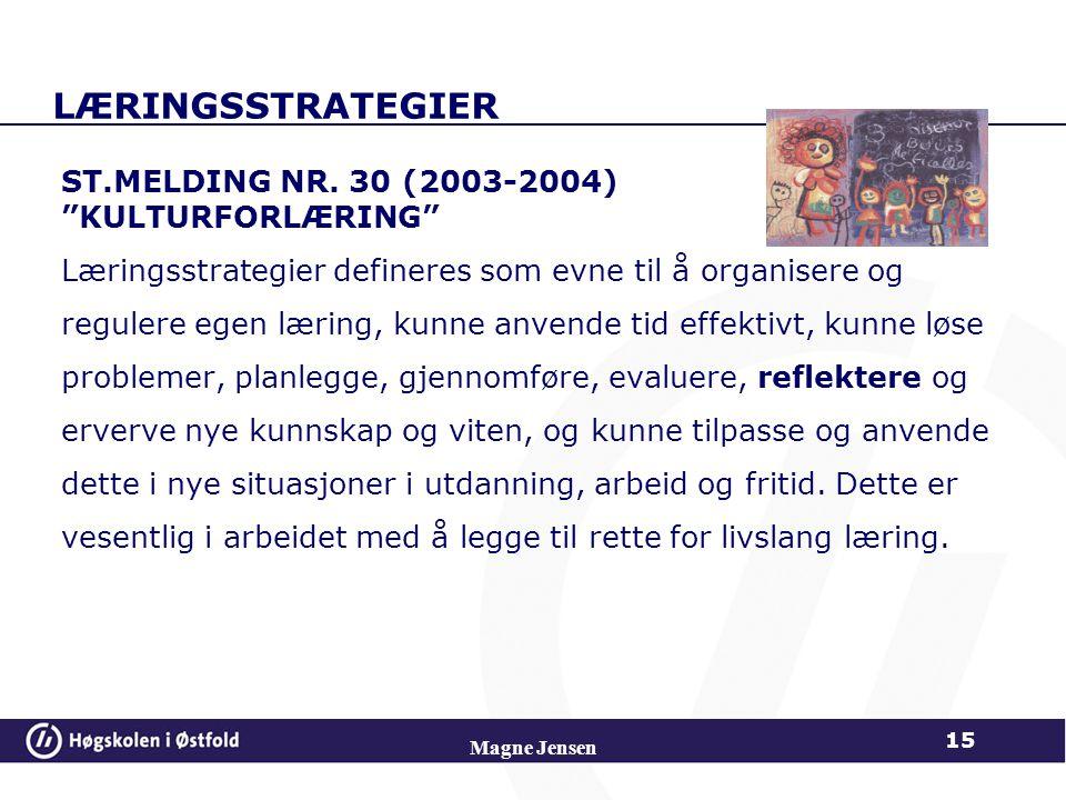 LÆRINGSSTRATEGIER ST.MELDING NR. 30 (2003-2004) KULTURFORLÆRING
