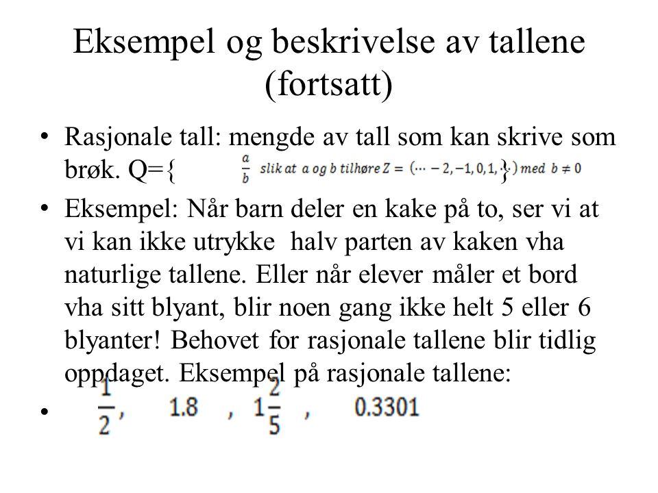 Eksempel og beskrivelse av tallene (fortsatt)