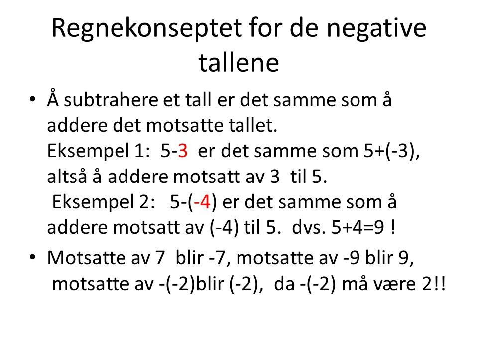 Regnekonseptet for de negative tallene