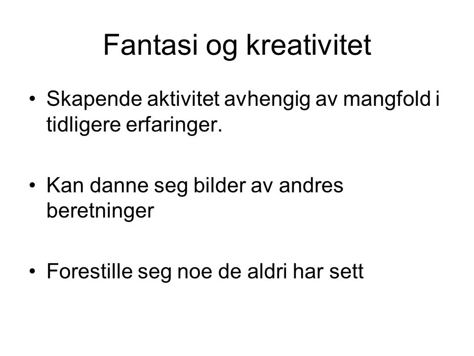 Fantasi og kreativitet