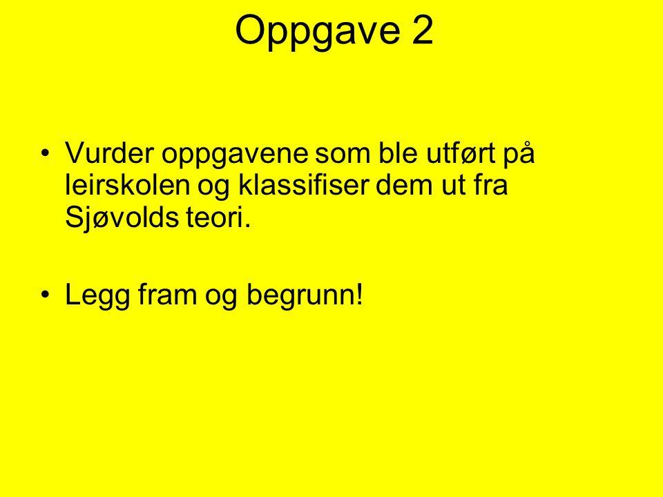 Oppgave 2 Vurder oppgavene som ble utført på leirskolen og klassifiser dem ut fra Sjøvolds teori.
