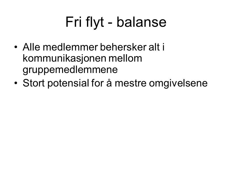 Fri flyt - balanse Alle medlemmer behersker alt i kommunikasjonen mellom gruppemedlemmene.