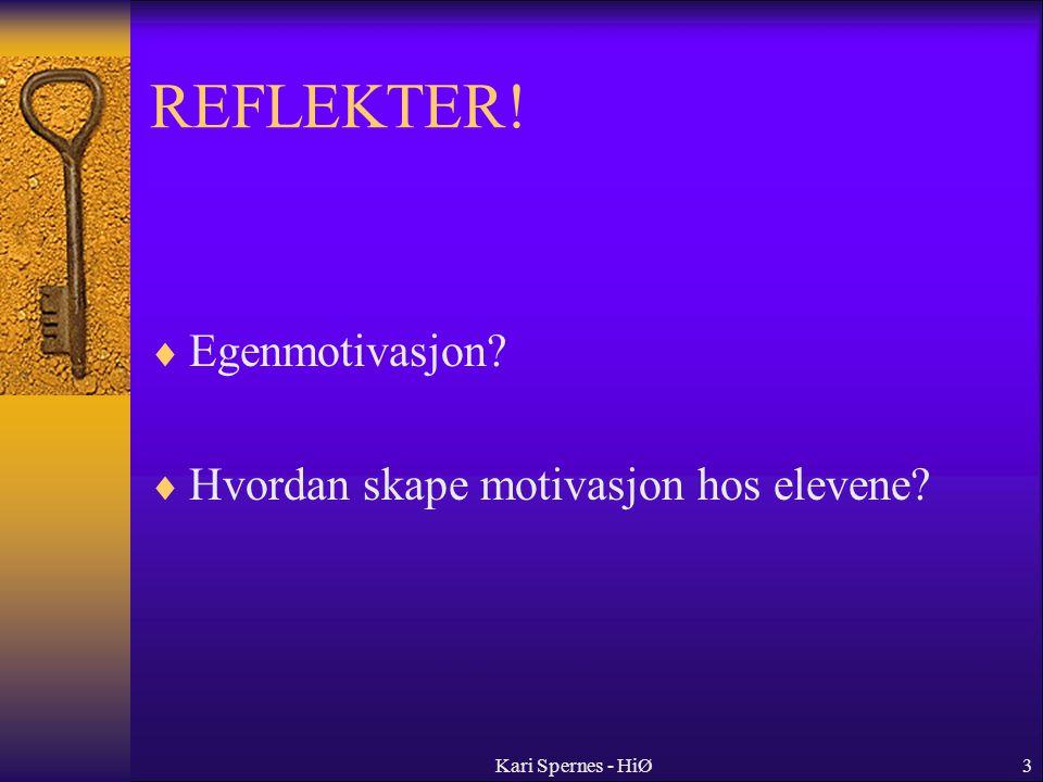 REFLEKTER! Egenmotivasjon Hvordan skape motivasjon hos elevene