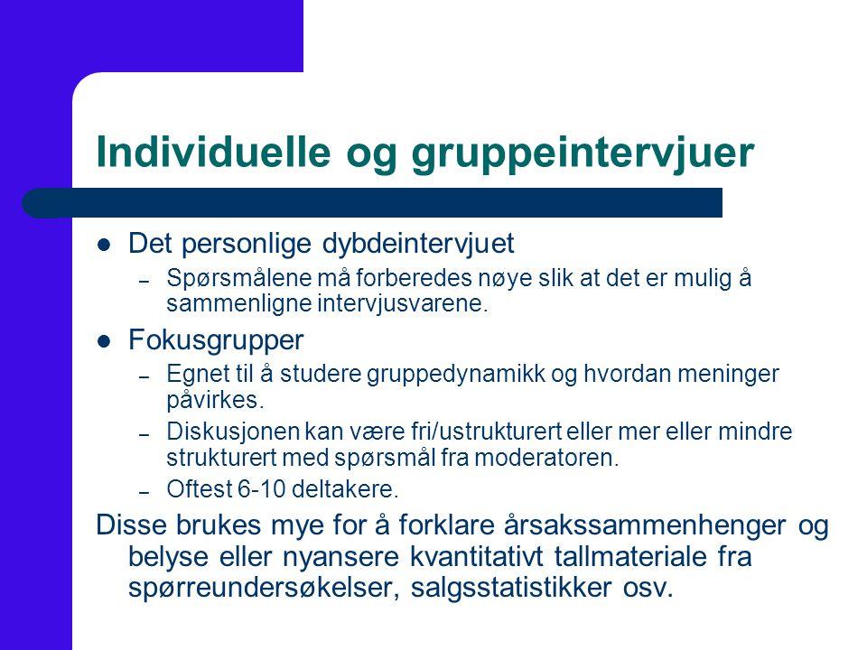 Individuelle og gruppeintervjuer