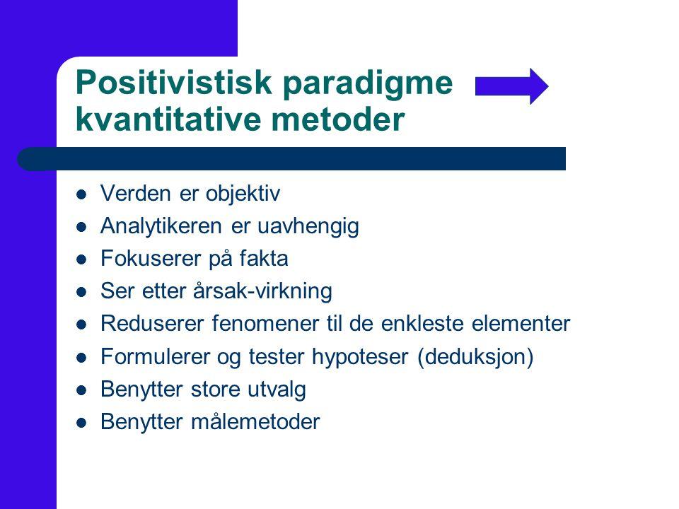 Positivistisk paradigme kvantitative metoder