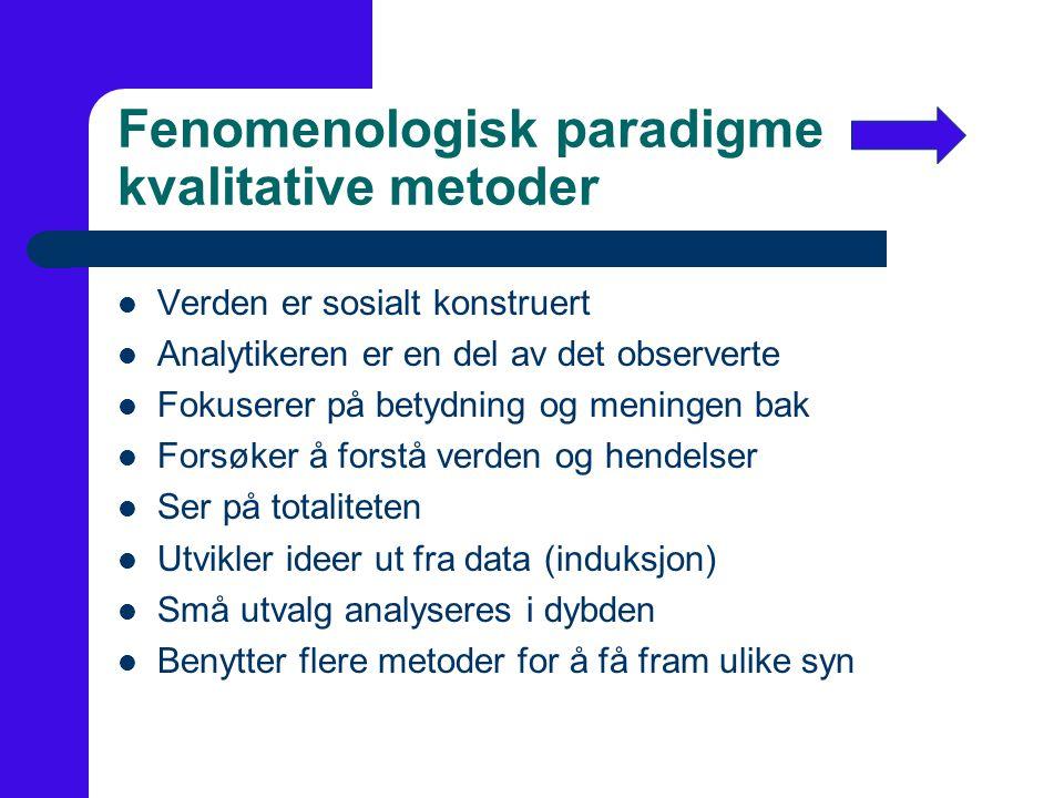Fenomenologisk paradigme kvalitative metoder
