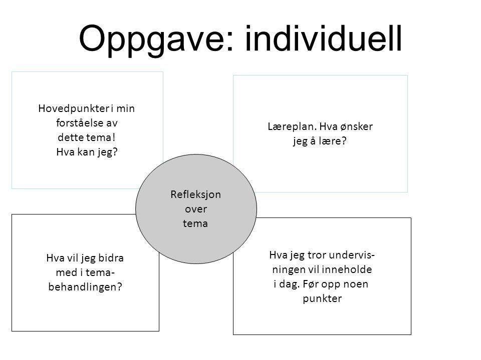 Oppgave: individuell Hovedpunkter i min forståelse av dette tema!
