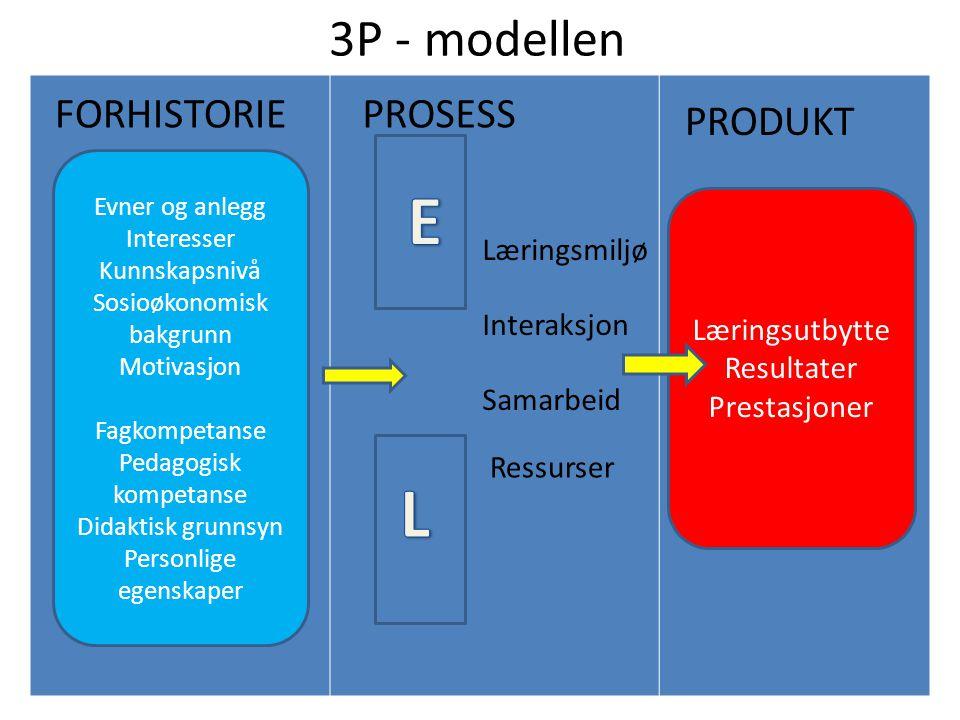 E L 3P - modellen FORHISTORIE PROSESS PRODUKT Læringsmiljø