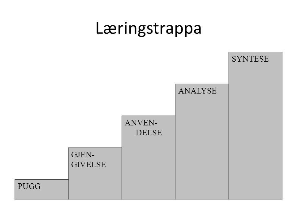 Læringstrappa SYNTESE ANALYSE ANVEN-DELSE GJEN- GIVELSE PUGG