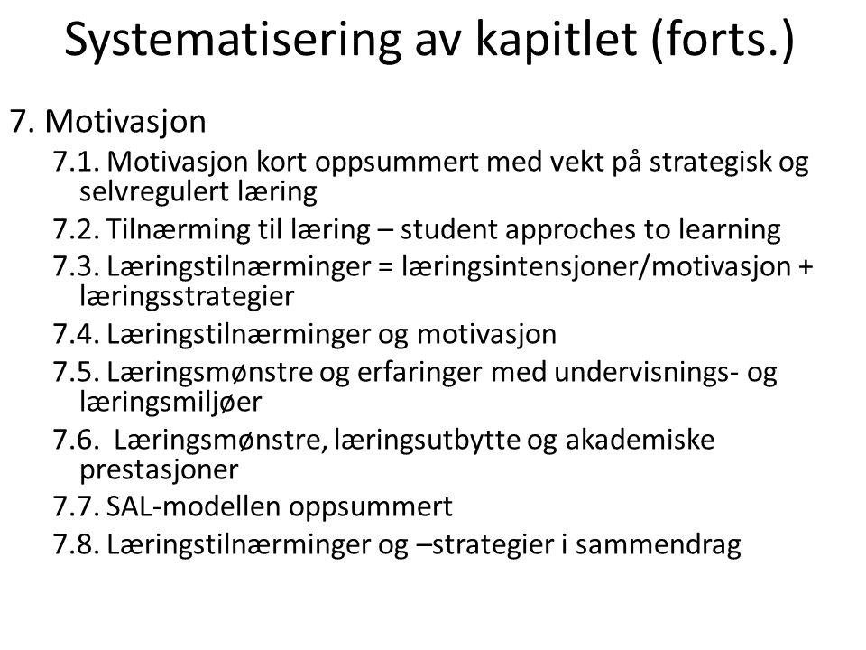 Systematisering av kapitlet (forts.)