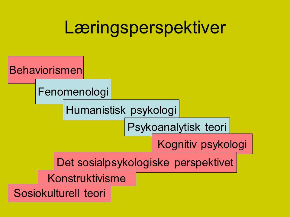 Læringsperspektiver Behaviorismen Fenomenologi Humanistisk psykologi