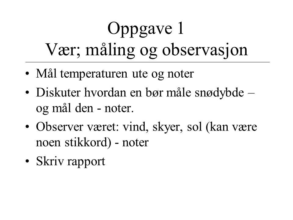 Oppgave 1 Vær; måling og observasjon