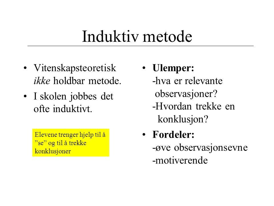 Induktiv metode Vitenskapsteoretisk ikke holdbar metode.
