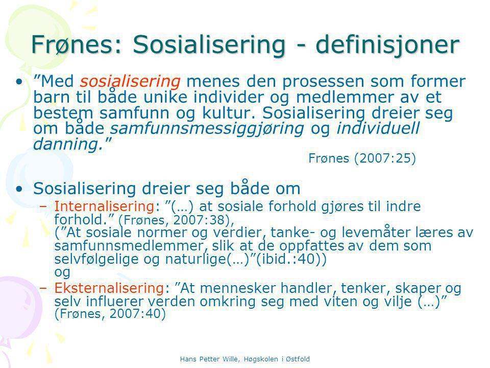 Frønes: Sosialisering - definisjoner