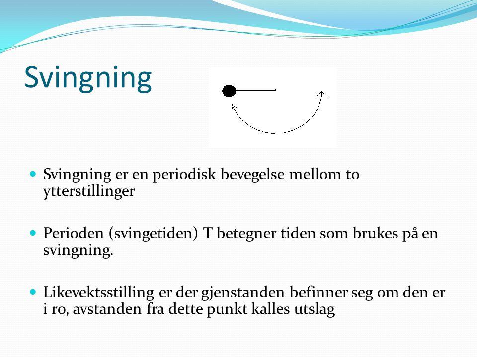 Svingning Svingning er en periodisk bevegelse mellom to ytterstillinger. Perioden (svingetiden) T betegner tiden som brukes på en svingning.