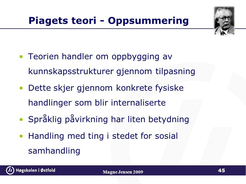Piagets teori - Oppsummering