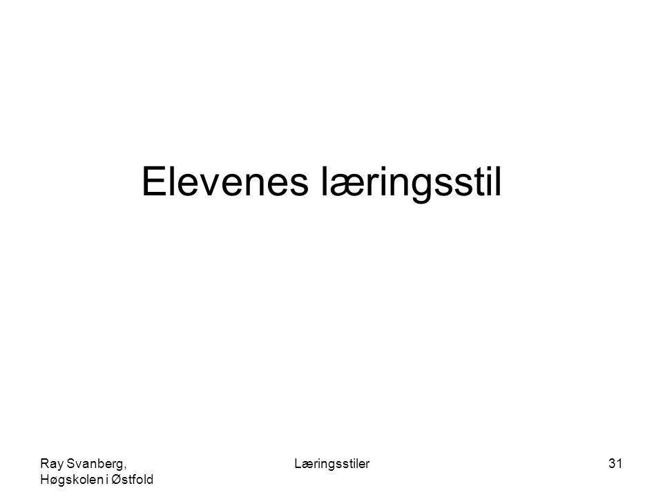 Elevenes læringsstil Ray Svanberg, Høgskolen i Østfold Læringsstiler
