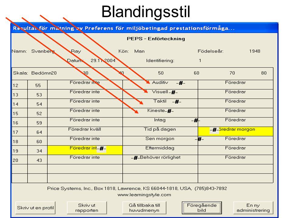 Blandingsstil Ray Svanberg, Høgskolen i Østfold Læringsstiler