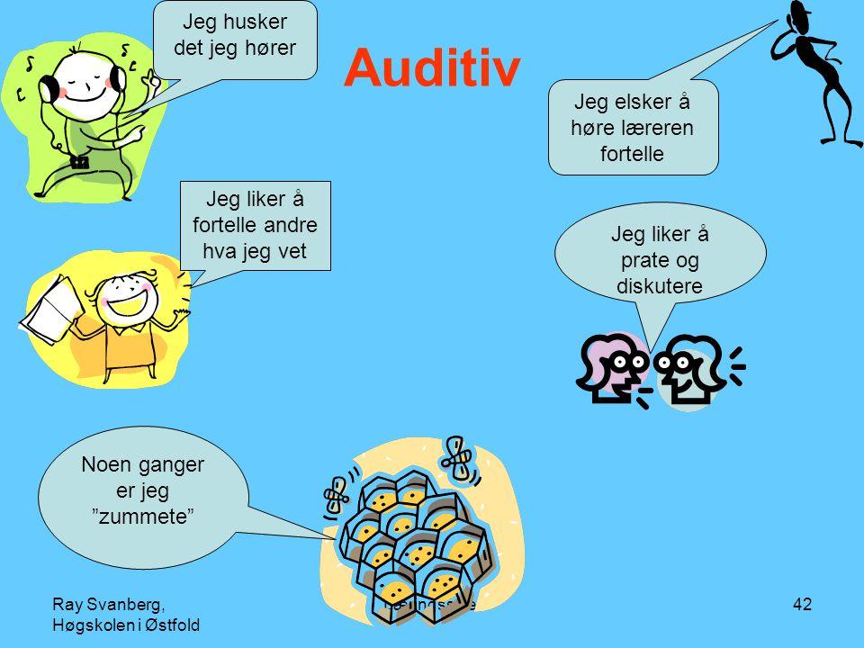 Auditiv Jeg husker det jeg hører Jeg elsker å høre læreren fortelle