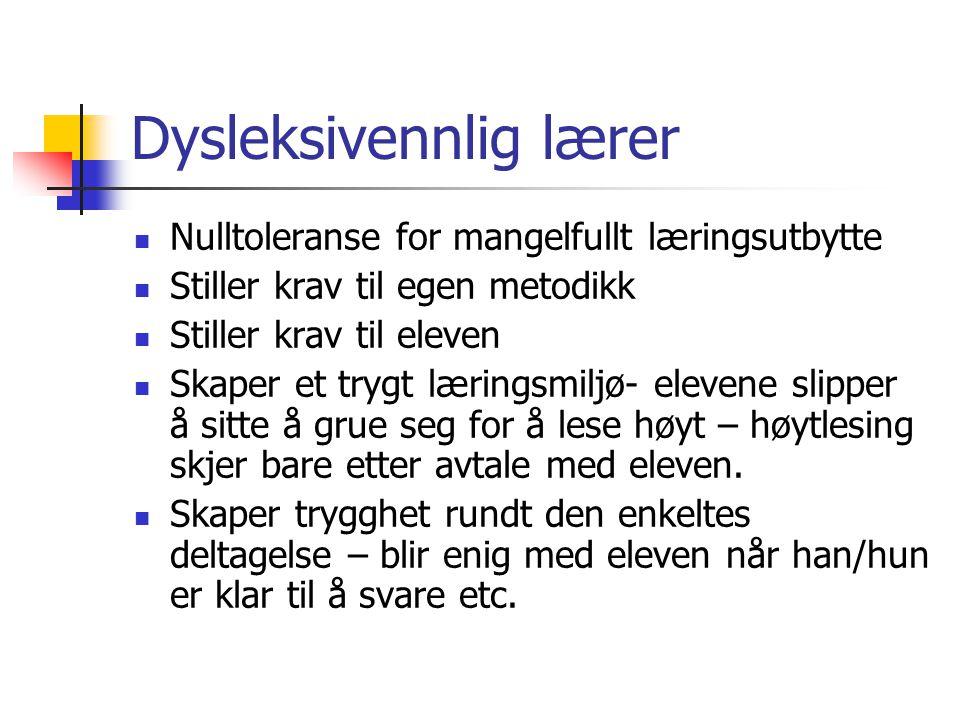 Dysleksivennlig lærer