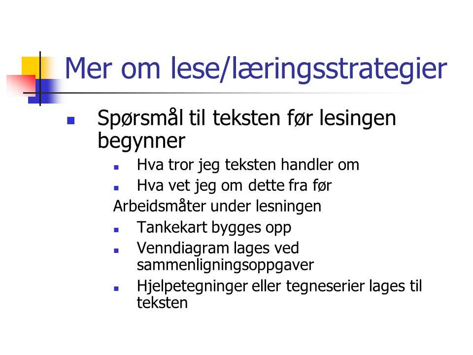 Mer om lese/læringsstrategier