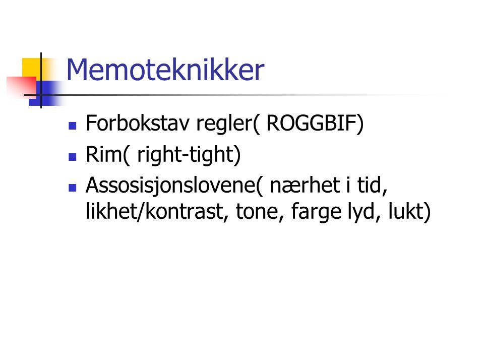 Memoteknikker Forbokstav regler( ROGGBIF) Rim( right-tight)
