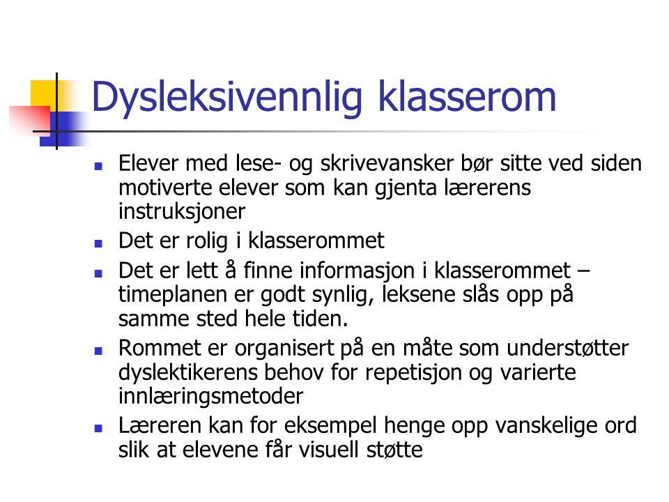 Dysleksivennlig klasserom