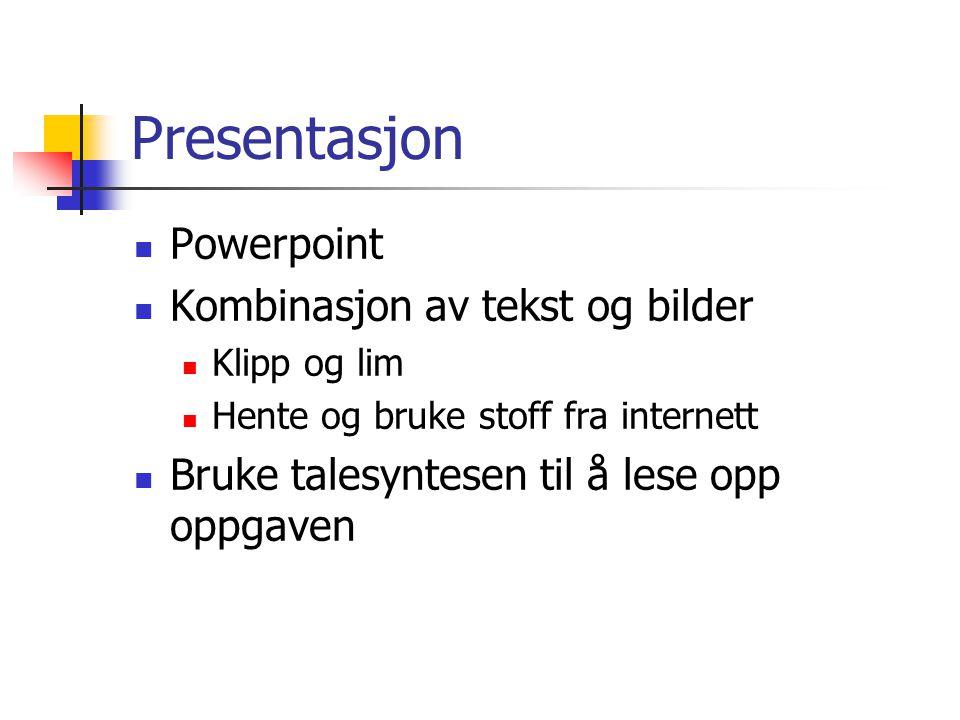 Presentasjon Powerpoint Kombinasjon av tekst og bilder