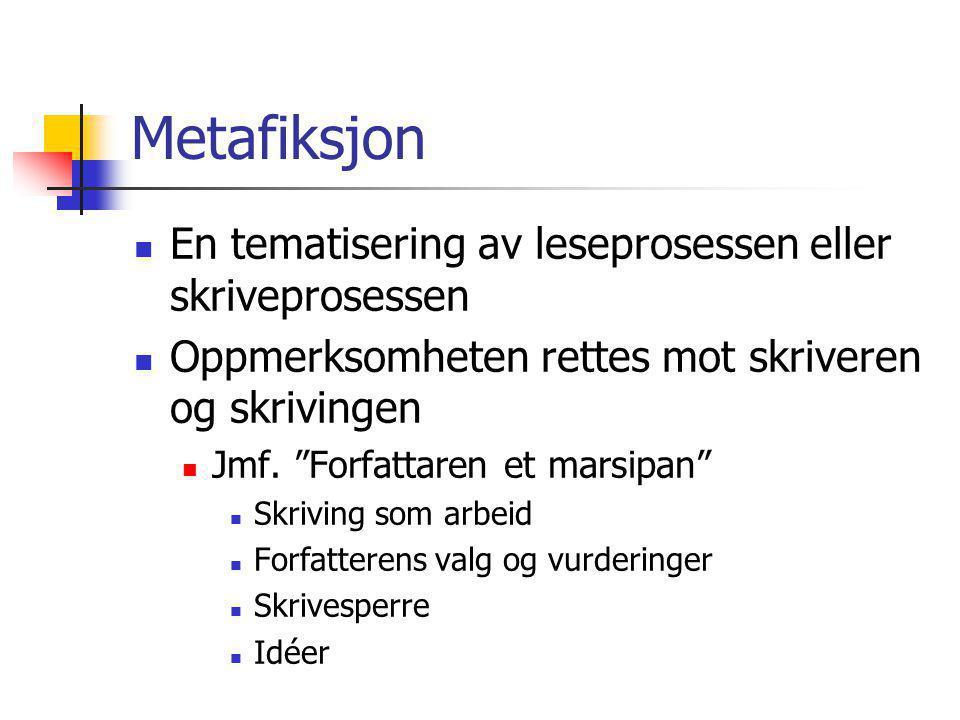 Metafiksjon En tematisering av leseprosessen eller skriveprosessen