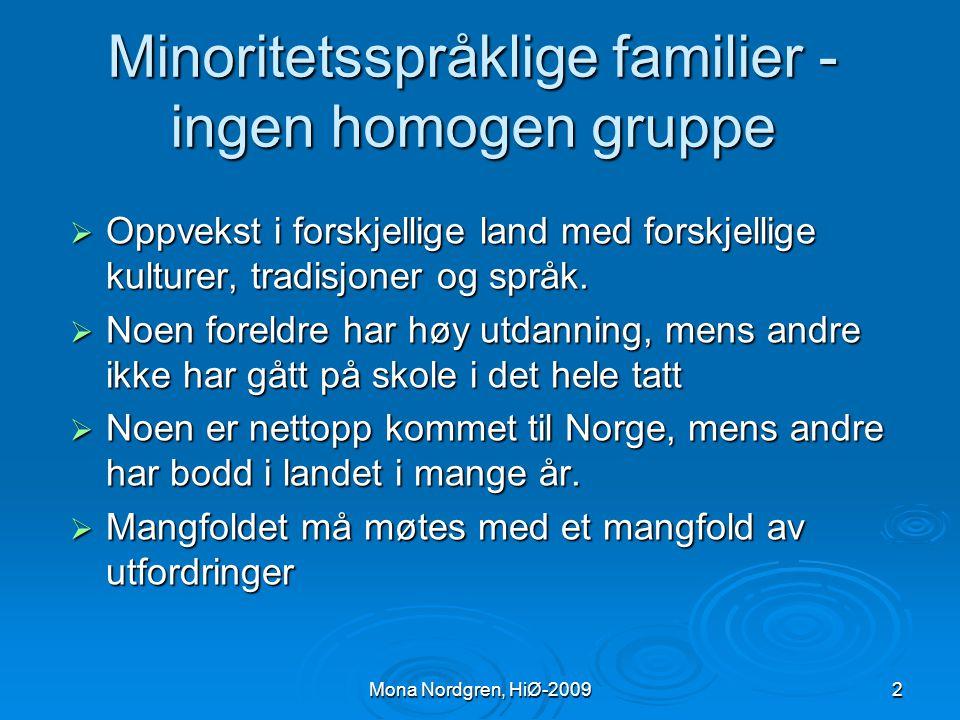 Minoritetsspråklige familier - ingen homogen gruppe