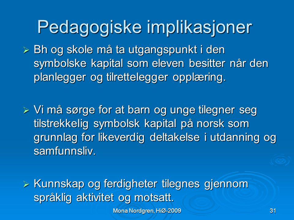 Pedagogiske implikasjoner