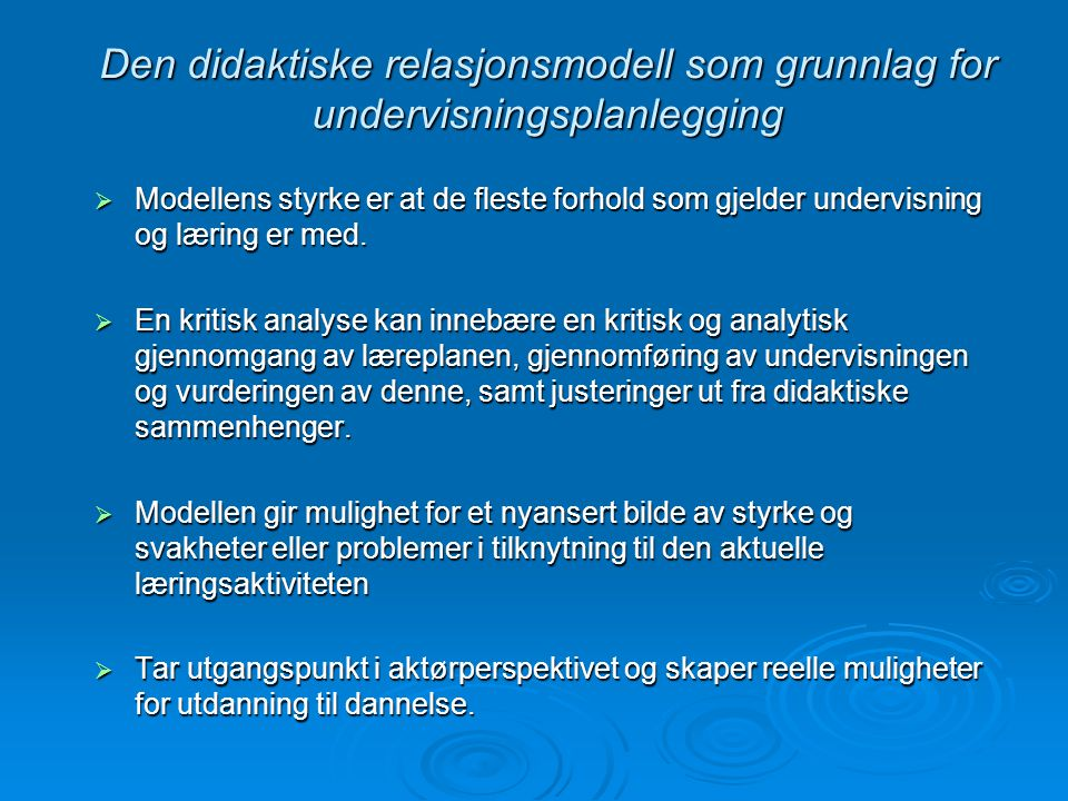 Den didaktiske relasjonsmodell som grunnlag for undervisningsplanlegging