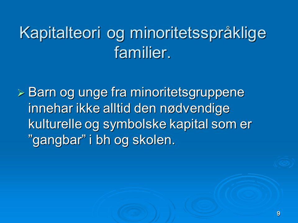 Kapitalteori og minoritetsspråklige familier.