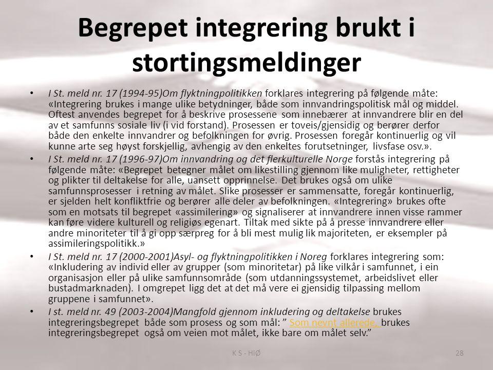 Begrepet integrering brukt i stortingsmeldinger