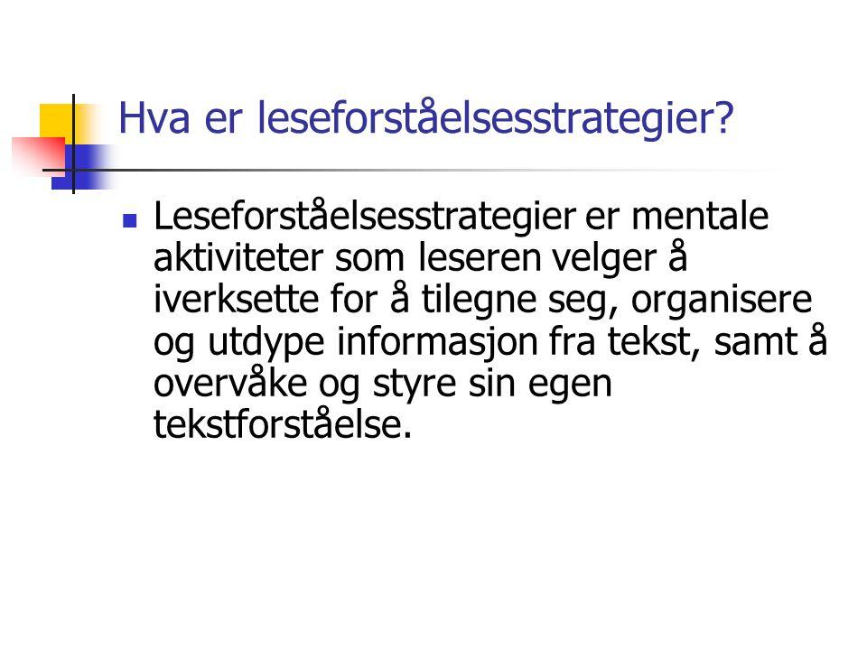 Hva er leseforståelsesstrategier