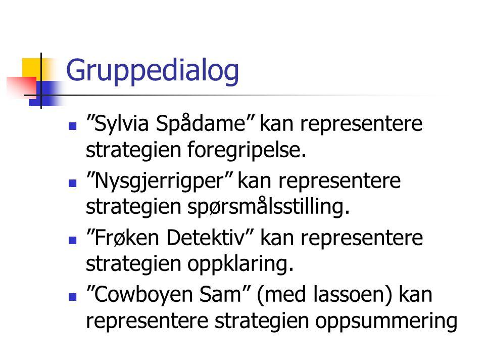 Gruppedialog Sylvia Spådame kan representere strategien foregripelse. Nysgjerrigper kan representere strategien spørsmålsstilling.