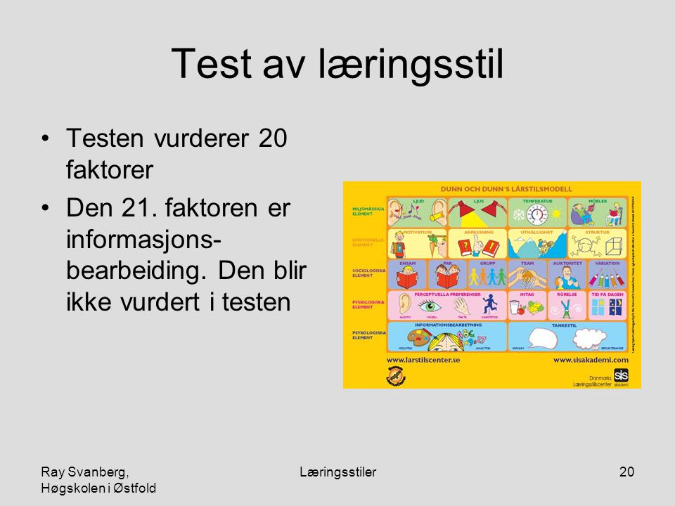 Test av læringsstil Testen vurderer 20 faktorer