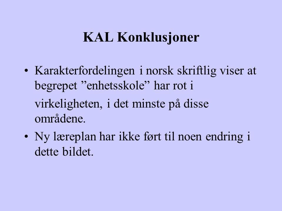 KAL Konklusjoner Karakterfordelingen i norsk skriftlig viser at begrepet enhetsskole har rot i. virkeligheten, i det minste på disse områdene.