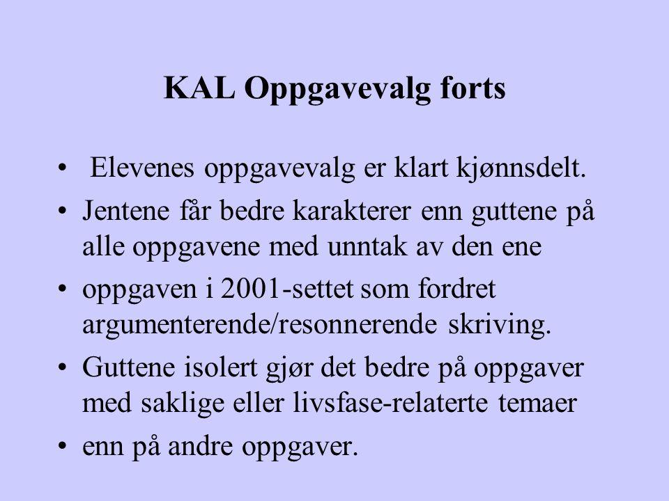 KAL Oppgavevalg forts Elevenes oppgavevalg er klart kjønnsdelt.