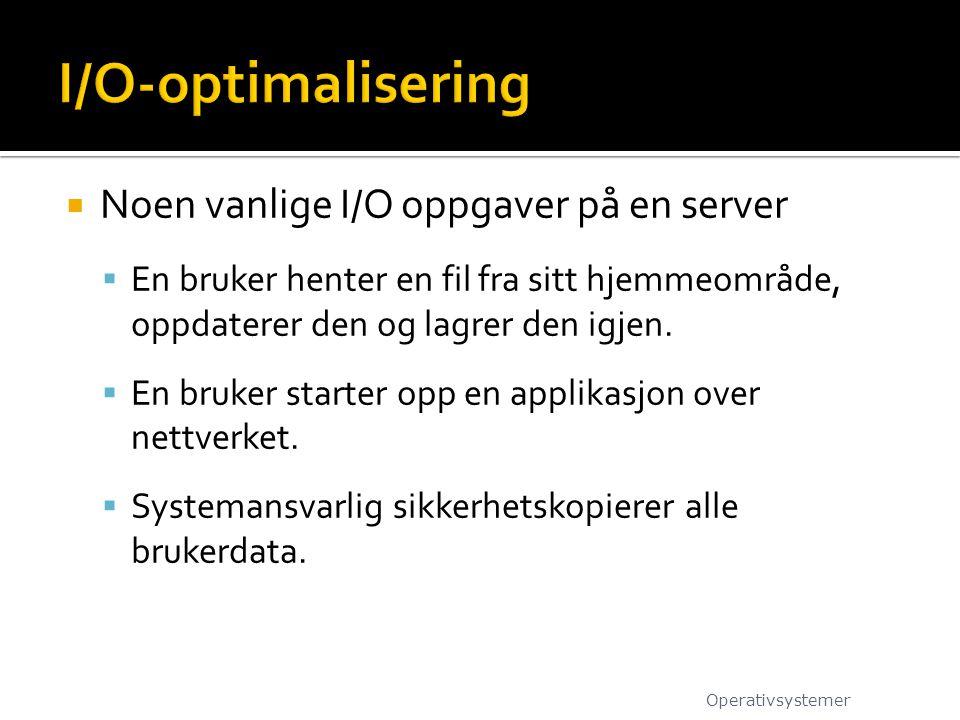I/O-optimalisering Noen vanlige I/O oppgaver på en server