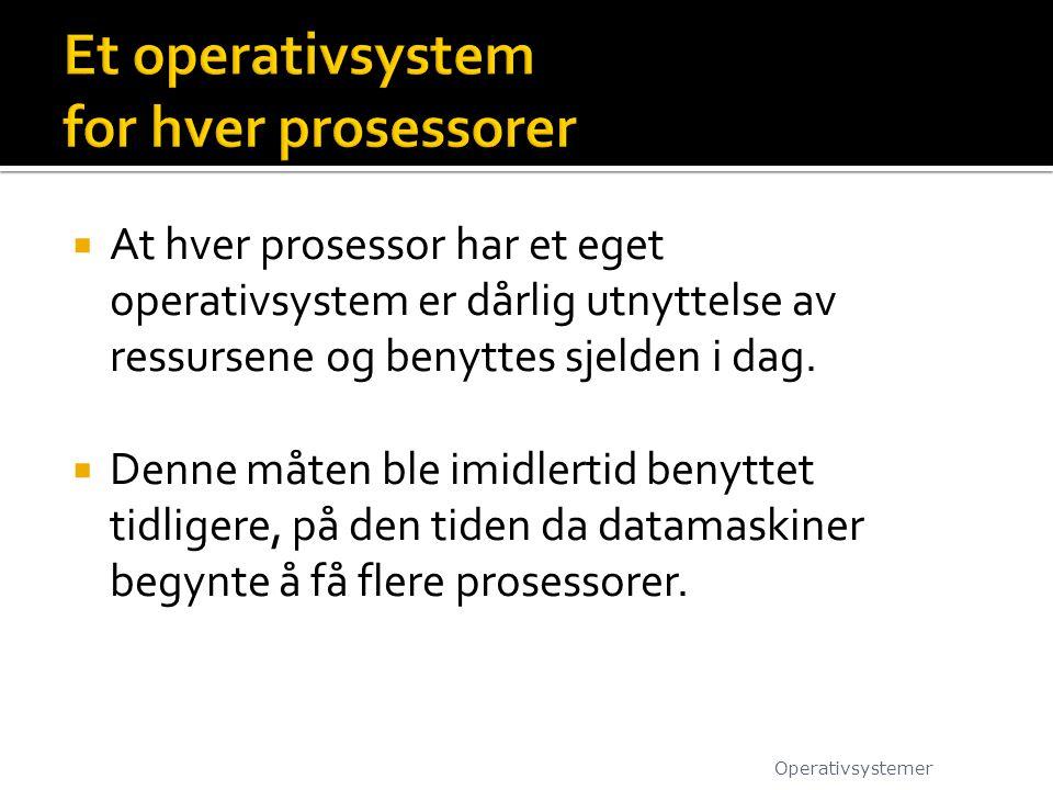 Et operativsystem for hver prosessorer